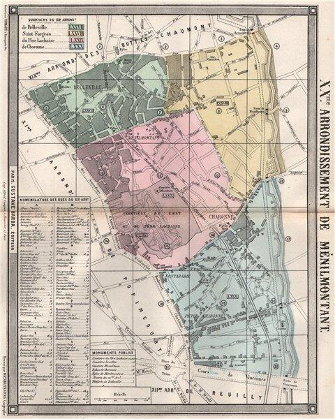 Associate Product PARIS 20e 20th XXme arrondissement de Ménilmontant. BARBA 1860 old antique map