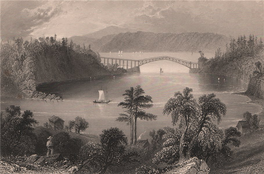 Associate Product CANADA. Bridge at the mouth of the Chaudière River, Lévis. Canada. BARTLETT 1842