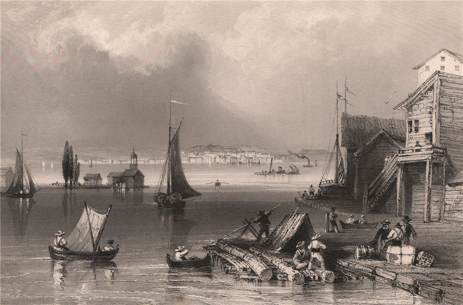 Associate Product CANADA. Prescott, Ontario, from Ogdensburg Harbour. BARTLETT 1842 old print