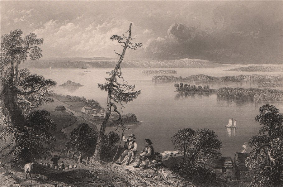 Associate Product CANADA. Scene in the Bay of Quinte, Ontario. Shepherds. BARTLETT 1842 print