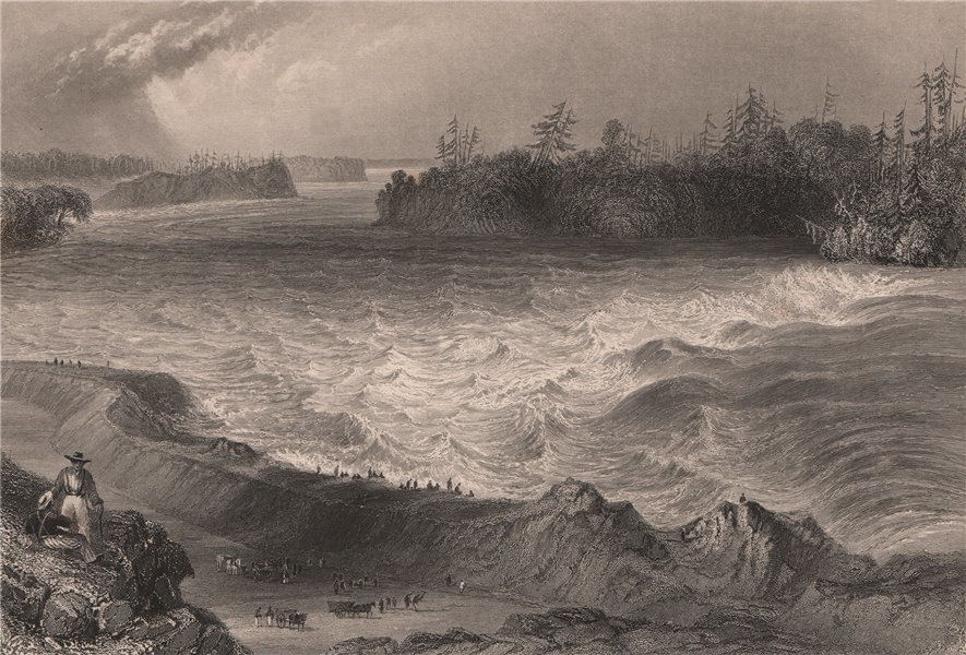 CANADA. Long Sault Rapids, on the St. Lawrence River, Ontario. BARTLETT 1842