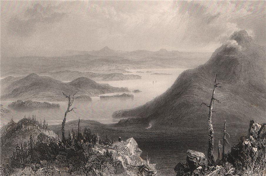 Associate Product QUEBEC. Lake Mephremagog & Owl's Head Mountain. BARTLETT 1842 old print