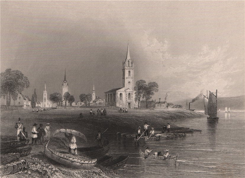 Associate Product CANADA. The Green at Fredericton, New Brunswick. BARTLETT 1842 old print