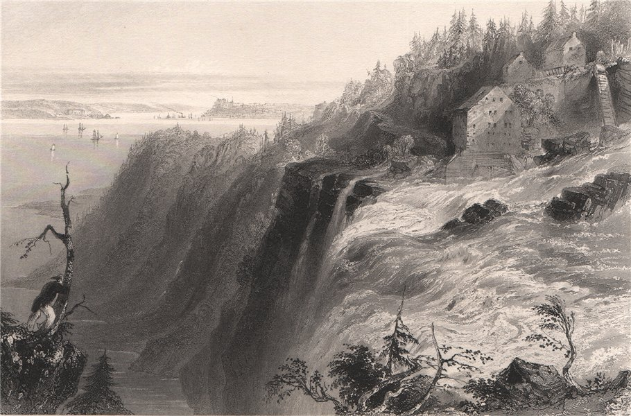Associate Product QUEBEC. Chute Montmorency Falls from the summit. Canada. BARTLETT 1842 print