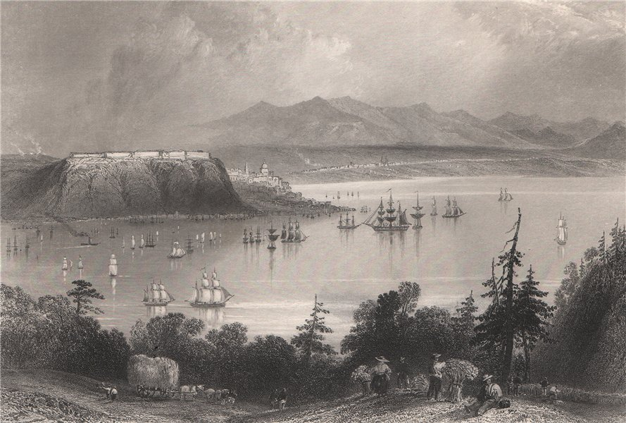 Associate Product CANADA. Quebec City from the opposite shore of the St. Lawrence. BARTLETT 1842