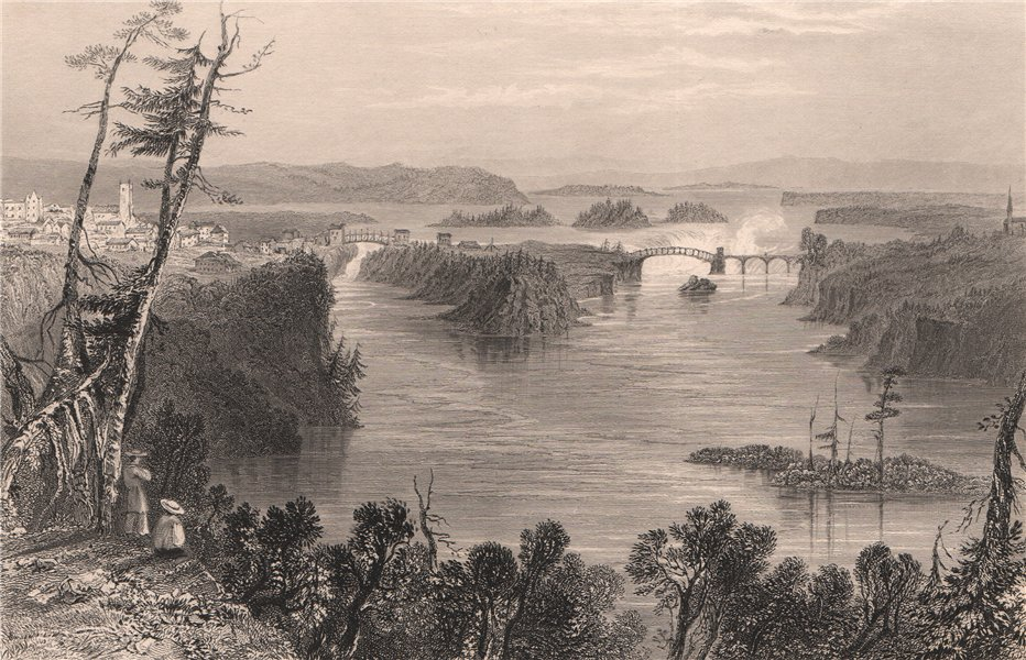 Associate Product CANADA. The Ottawa River at Bytown (City of Ottawa). BARTLETT 1842 old print