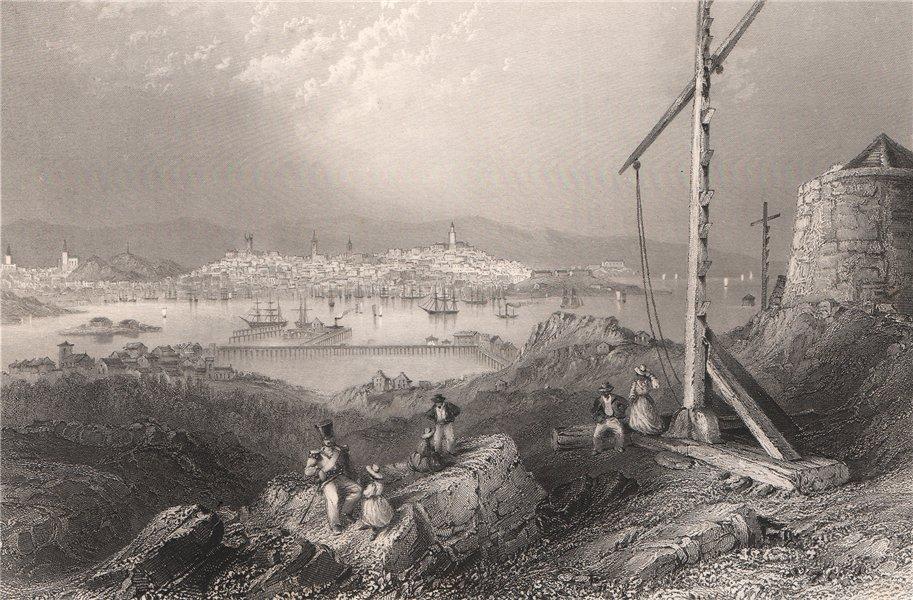 Associate Product NEW BRUNSWICK. St John from the signal station, Partridge Island. BARTLETT 1842