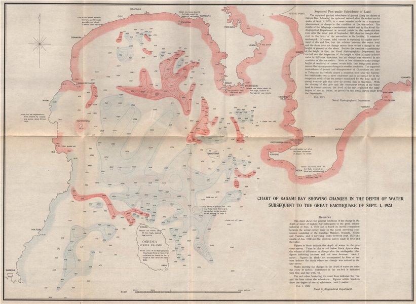 Associate Product GREAT KANTO EARTHQUAKE 1923. Sagami Bay sea depth changes. Japan Tokyo 1926 map