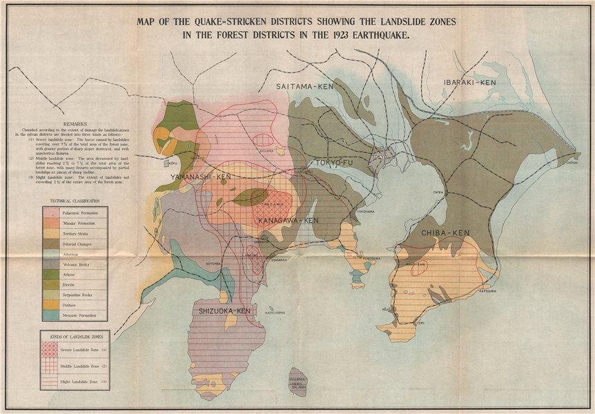 Associate Product GREAT KANTO EARTHQUAKE 1923. Landslides zones. Japan Tokyo 1926 old map