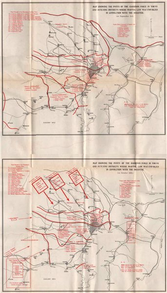 Associate Product GREAT KANTO EARTHQUAKE 1923. Areas subject to Martial Law. Japan Tokyo 1926 map