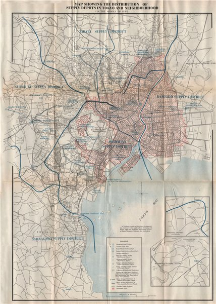 Associate Product GREAT KANTO EARTHQUAKE 1923. Supply depots in Tokyo. Japan 1926 old map