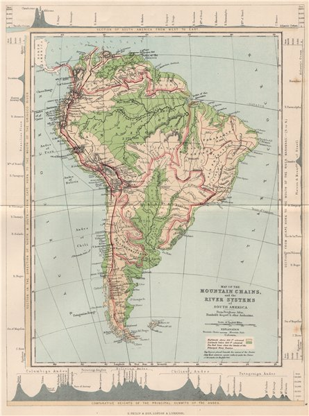Associate Product SOUTH AMERICA. Map Mountain Chains & river systems of 1886 old antique