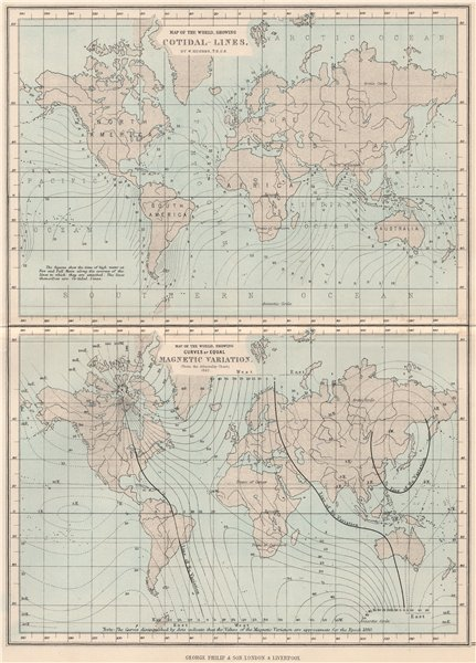 Associate Product WORLD.Cotidal lines;curves of equal Magnetic variation(Admiralty chart) 1886 map