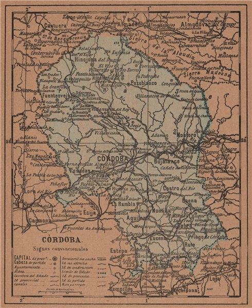 Associate Product CÓRDOBA. Cordoba. Andalucia. Mapa antiguo de la provincia 1905 old antique