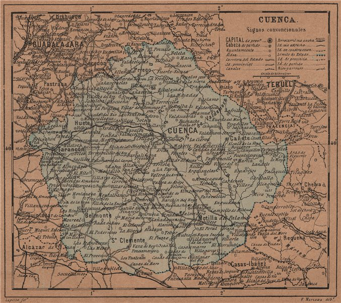 Associate Product CUENCA. Castilla-La Mancha. Mapa antiguo de la provincia 1905 old antique