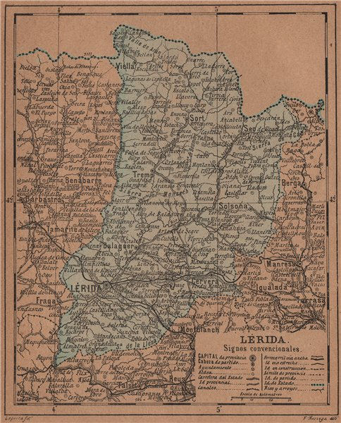 Associate Product LÉRIDA. Lleida Lerida. Cataluña Catalunya. Mapa antiguo de la provincia 1905