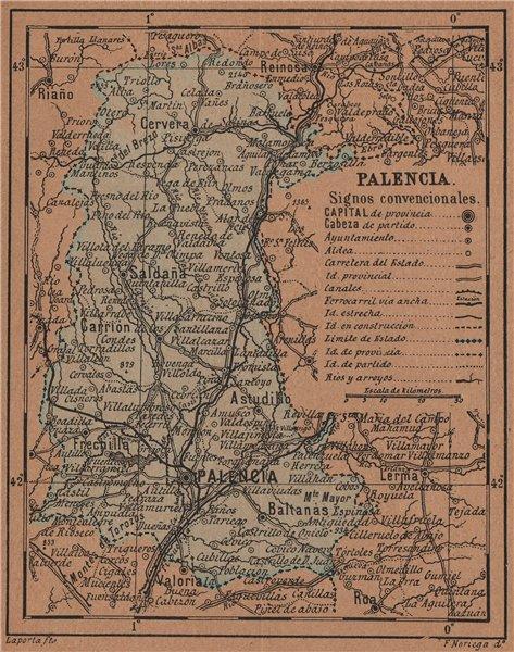 Associate Product PALENCIA. Castilla y León. Mapa antiguo de la provincia 1905 old antique