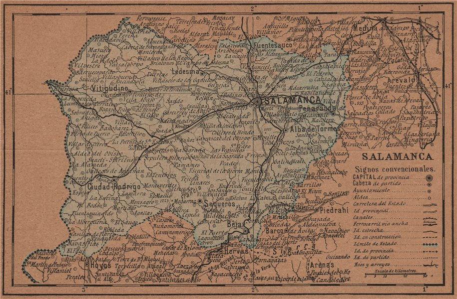 Associate Product SALAMANCA. Castilla y León. Mapa antiguo de la provincia 1905 old antique