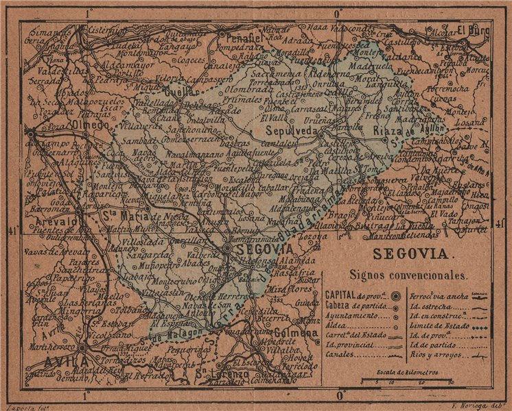 Associate Product SEGOVIA. Castilla y León. Mapa antiguo de la provincia 1905 old antique