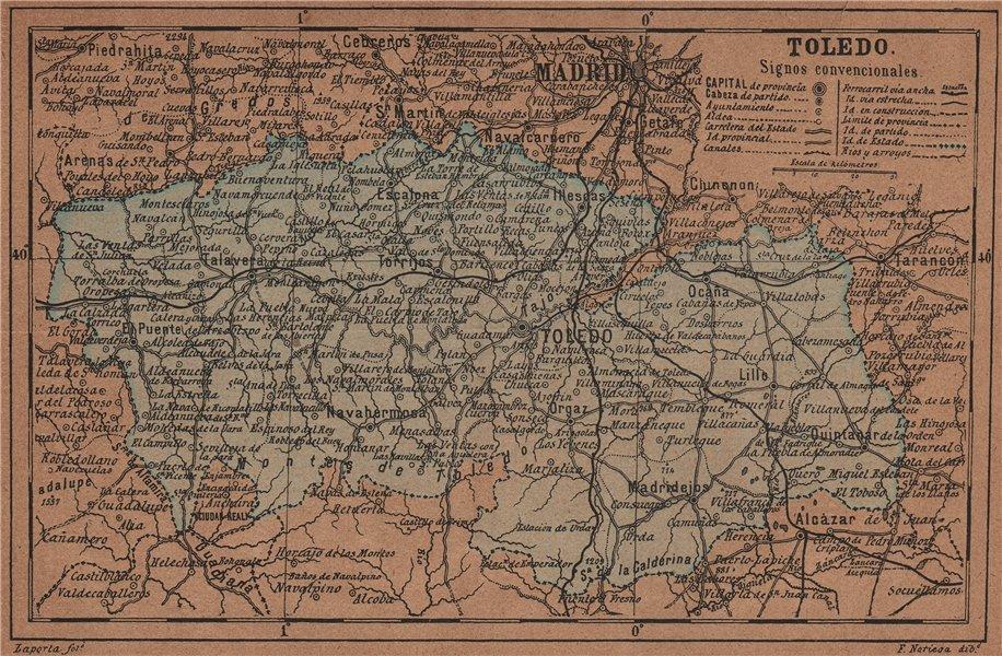 Associate Product TOLEDO. Castilla-La Mancha. Mapa antiguo de la provincia 1905 old antique