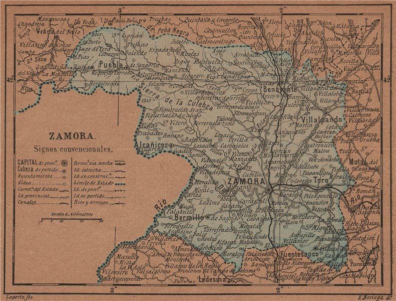 ZAMORA. Castilla y León. Mapa antiguo de la provincia 1905 old antique