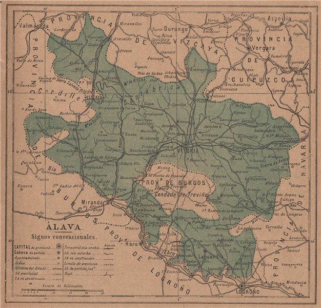 Associate Product ÁLAVA ALAVA ARABA. Vitoria. Gasteiz. Euskadi. Mapa antiguo de la provincia 1908