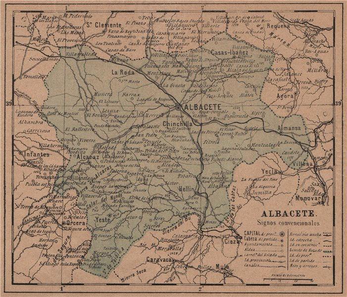 Associate Product ALBACETE. Castilla-La Mancha. Mapa antiguo de la provincia 1908 old