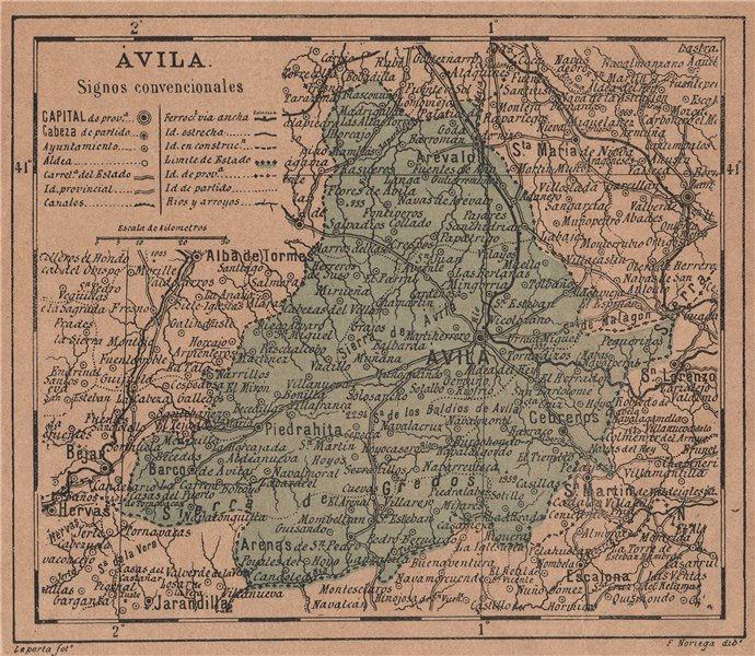 Associate Product ÁVILA. Avila. Castilla y León. Mapa antiguo de la provincia 1908 old