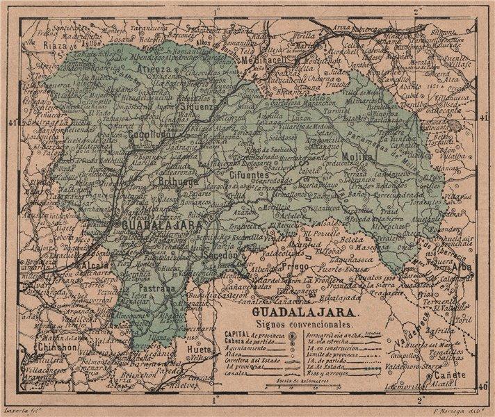 Associate Product GUADALAJARA. Castilla-La Mancha. Mapa antiguo de la provincia 1908 old
