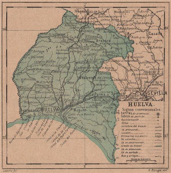 Associate Product HUELVA. Andalucia. Mapa antiguo de la provincia 1908 old antique chart