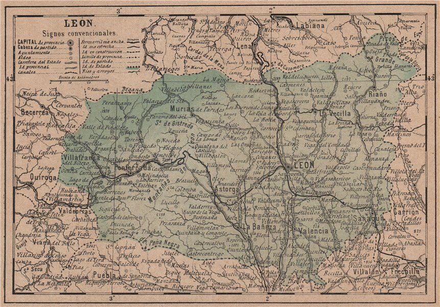 Associate Product LEÓN. Leon. Castilla y León. Mapa antiguo de la provincia 1908 old antique
