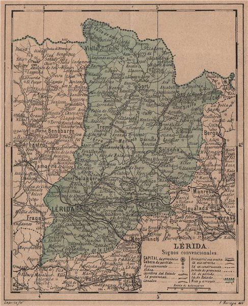 LÉRIDA. Lleida Lerida. Cataluña Catalunya. Mapa antiguo de la provincia 1908