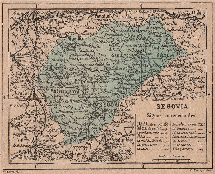 Associate Product SEGOVIA. Castilla y León. Mapa antiguo de la provincia 1908 old antique