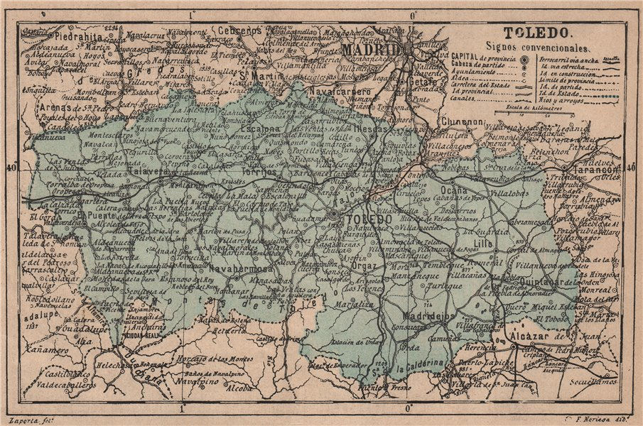 Associate Product TOLEDO. Castilla-La Mancha. Mapa antiguo de la provincia 1908 old antique
