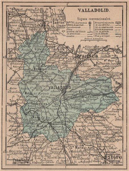 Associate Product VALLADOLID. Castilla y León. Mapa antiguo de la provincia 1908 old antique