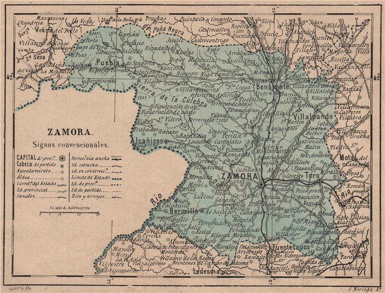 Associate Product ZAMORA. Castilla y León. Mapa antiguo de la provincia 1908 old antique