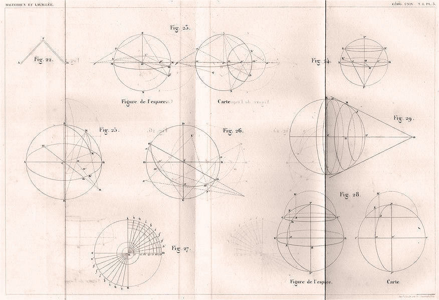 Associate Product SPHERES. Sections. Mathematics 1855 old antique vintage print picture