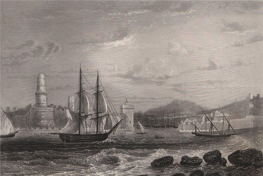 MARSEILLES. Vieux-Port entrance & Fort St-Jean. Bouches-du-Rhône 1855 print