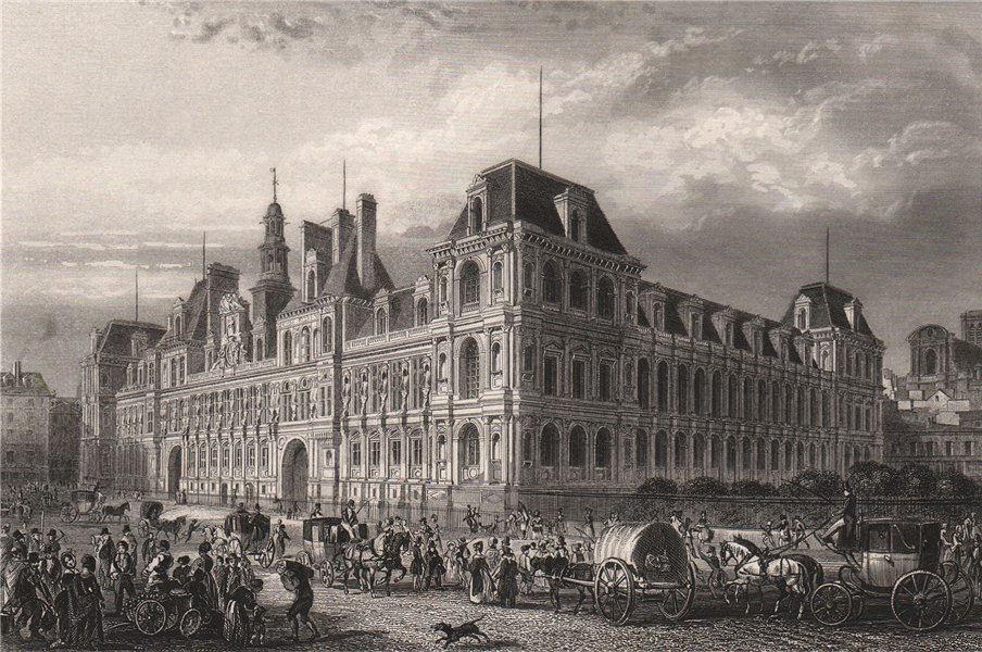 Associate Product PARIS, Hôtel de Ville. Busy scene with many carriages 1855 old antique print