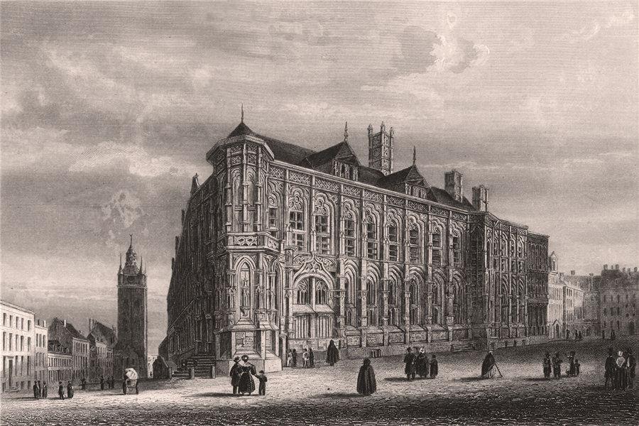 Associate Product GHENT GENT. 'Gand (Hôtel de Ville)'. Belgium 1855 old antique print picture