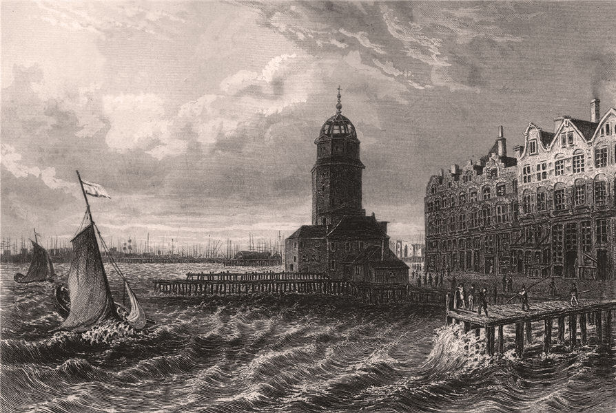 Associate Product AMSTERDAM sea front with boats & lighthouse. Netherlands 1855 old print