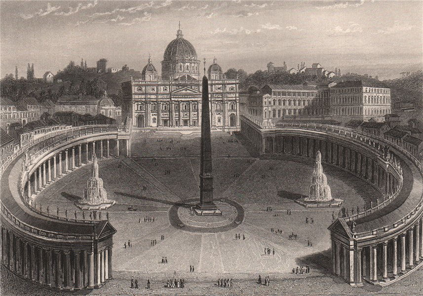 Associate Product ST PETER'S, ROME. Roma. Basilica Papale di San Pietro in Vaticano 1855 print