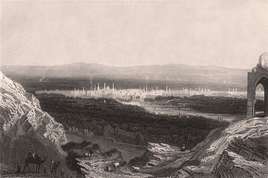 Associate Product DAMASCUS. 'Damas'. View of the city. Syria 1855 old antique print picture