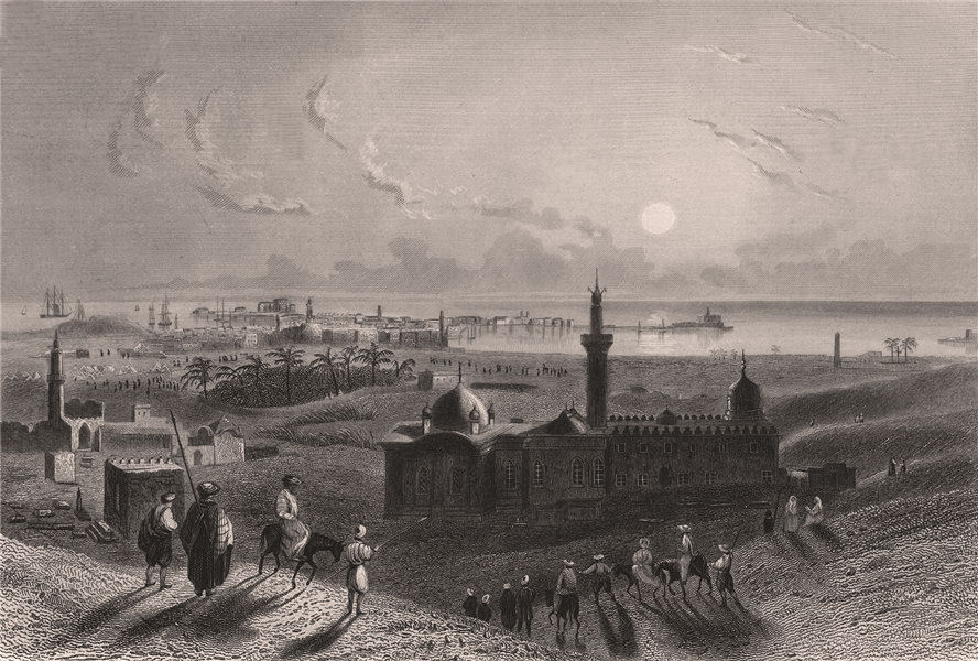 Associate Product Distant view of ALEXANDRIA. 'Alexandrie'. Egypt 1855 old antique print picture