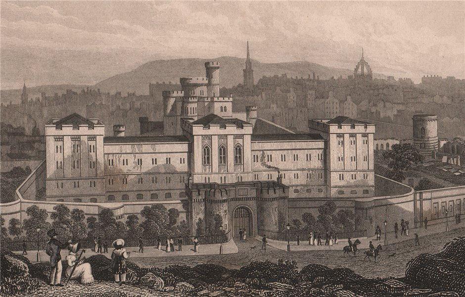 Associate Product EDINBURGH. The New Jail, from Calton Hill. SHEPHERD 1833 old antique print
