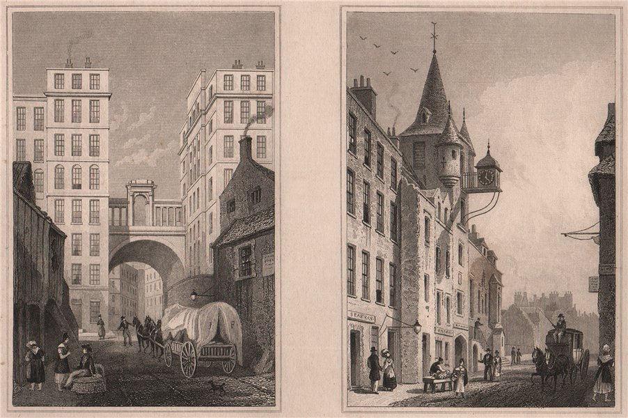 Associate Product EDINBURGH. The Regent Bridge; The Canongate Tolbooth. SHEPHERD 1833 old print