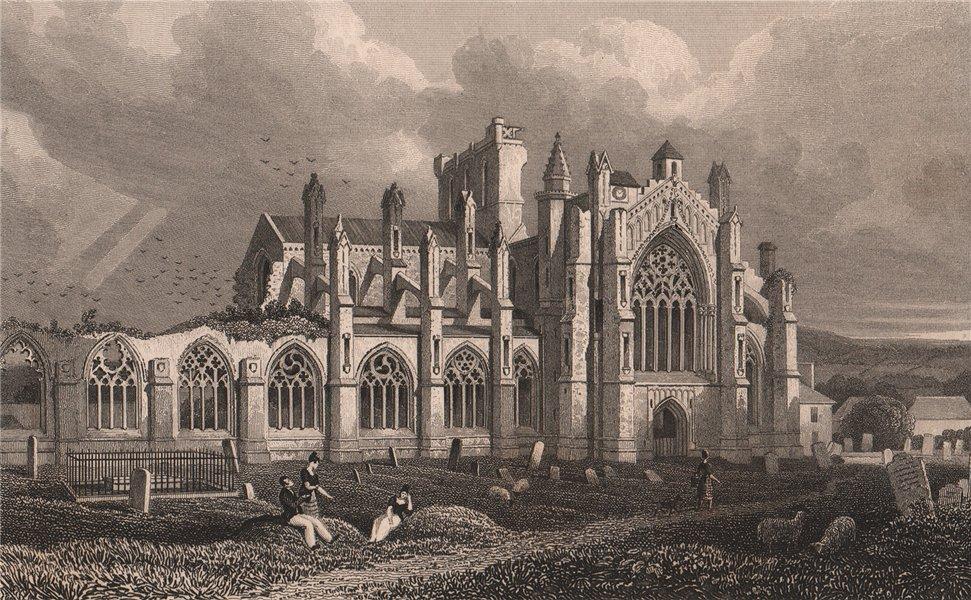 Associate Product MELROSE. St Mary's Abbey, Melrose. Roxburghshire. SHEPHERD 1833 old print