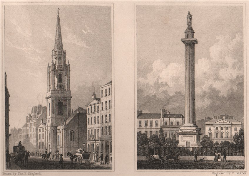 Associate Product EDINBURGH Tron Kirk, High St. Melville Monument, St Andrew Square. SHEPHERD 1833