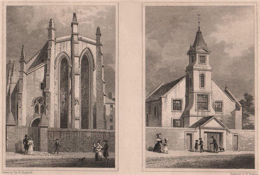 EDINBURGH. Trinity College Church; Buccleuch Parish Church. SHEPHERD 1833