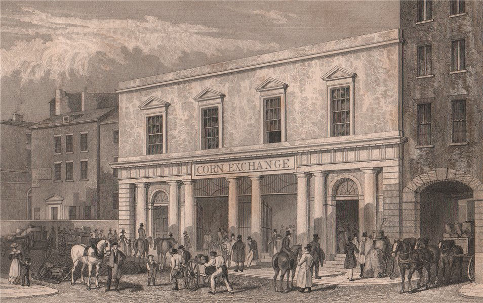 Associate Product The Corn Exchange, Brunswick Street. Liverpool. PYNE 1829 old antique print